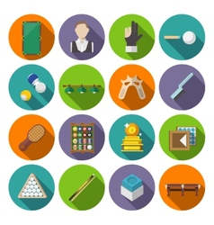 Billiards Icons Flat vector