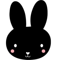 Black funny cartoon rabbit vector image