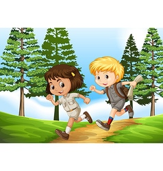 Boy and girl running in the park vector