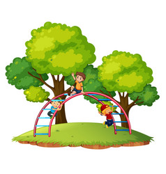 boys playing playgroud equipment vector image