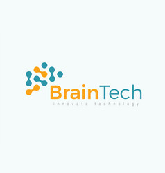 Brain tech logo concept for futuristic science vector