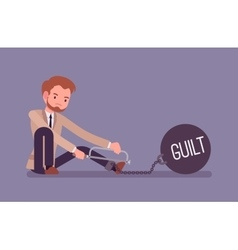Businessman chained with a metall weight Guilt vector