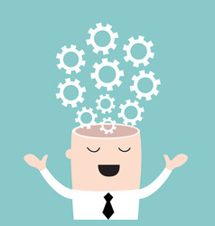 businessman head with the gears brain storming vector image