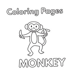 cartoon monkey coloring book vector image