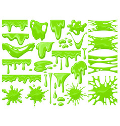 Cartoon slime dripping green sticky alien slime vector