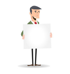 Cartoon white businessman blank sign vector