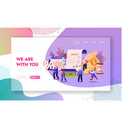 Characters signing loan contract landing page vector