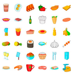 chef cooker icons set cartoon style vector image