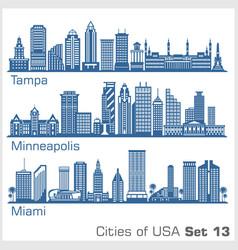 Cities usa - tampa minneapolis miami vector