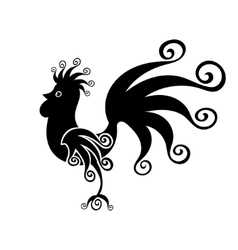 Cock black Vintage fabulous silhouette pattern vector image