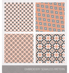 Collection of embroidery ornament vector