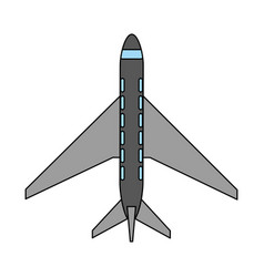 Color image cartoon top view travel airplane vector