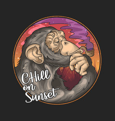 Cool chimpanzee smoke pipe on summer sunset illust vector