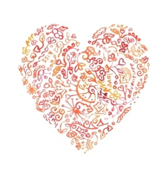 Creative doodle watercolor heart vector image