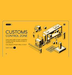 Customs control zone isometric website vector