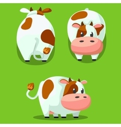 Cute round cow stylized pet Funny cartoon vector image