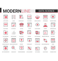 data science thin red black line icon vector image