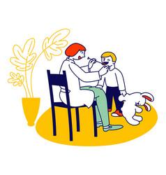 Doctor logopedist working with little boy having vector