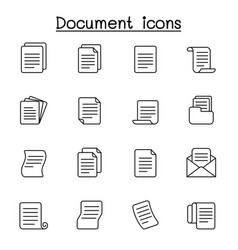 document icon set in thin line style vector image