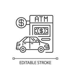 Drive through atm linear icon vector