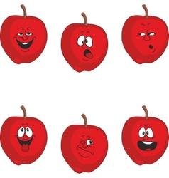 Emotion cartoon red apple set 011 vector image
