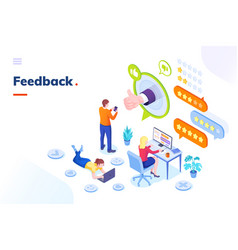 feedback customer survey review opinion isometric vector image