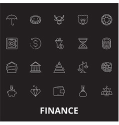 finance editable line icons set on black vector image