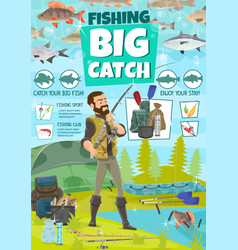 fishing equipment and fisher catch fish vector image