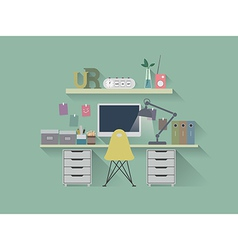 Flat icon working table vector image