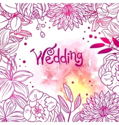 Floral and watercolor design vector