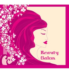 Floral background with pretty woman vector