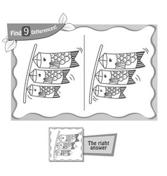 game black find 9 differences lanterns fish vector image vector image