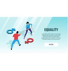 Gender equality horizontal banner vector