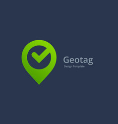 geotag with check mark or location pin logo icon vector image