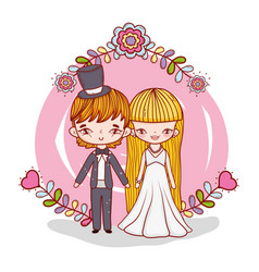 Girl and boy marriage with flowers and branches vector
