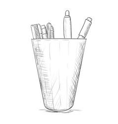 hand drawn sketch pencil case vector image
