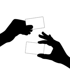 Hand hold a blank card silhouette vector