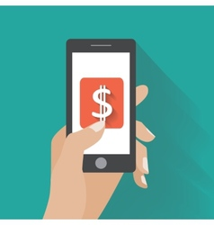 Hand touching smartphone with dollar sign on the vector image