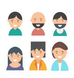happy smiling people avatars set vector image