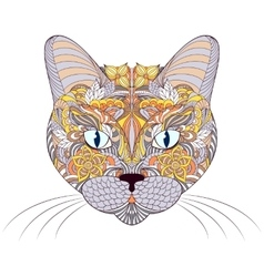 head of cat on white background vector image