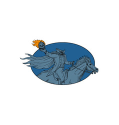 Headless horseman pumpkin head horse oval drawing vector