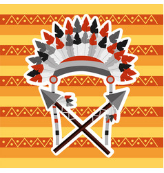 headwear feathers with cross spears warrion native vector image