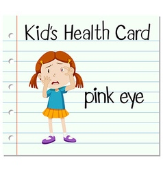 Health card with girl having pink eye vector image