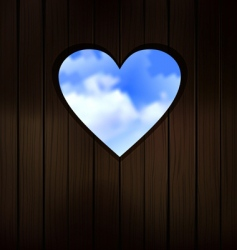heart shape cut into wood vector image