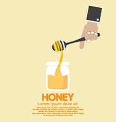 Honeys Jar With Drip In Hand vector image