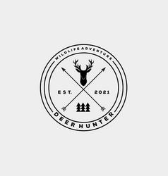 Hunting club minimalist vintage badge logo vector