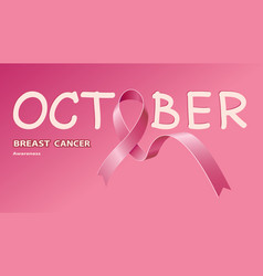icon pink ribbon for breast cancer awareness vector image