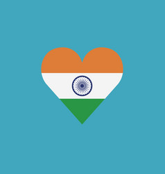 india flag icon in a heart shape in flat design vector image
