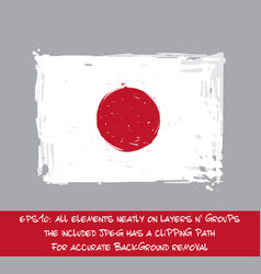 Japaneese flag flat - artistic brush strokes and vector