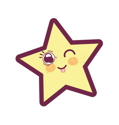 Kawaii funny and cute star design vector